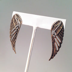 Pavé earring Rocker vibe angel wing post earring with rhinestone detail and cutout wings