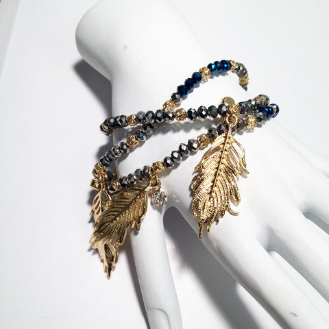 Pyrite bracelet Metal and Blue stone bead stretch feather pray for you lucky bracelet