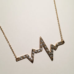 EKG Heartrate heartbeat life line pendant necklace with pavé detail