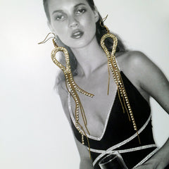 Snake chain Shoulder duster 70's disco style fringe cord earring with rhinestone strands