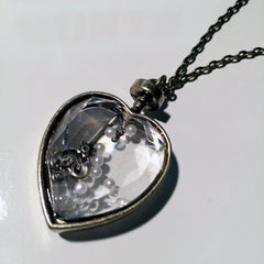 See through locket glass transparent heart stone necklace with pearl and key