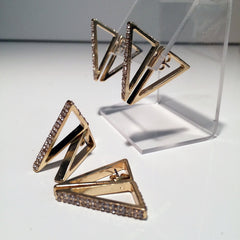 Gold plated Front and back triangle hoop style 2-d geometric post earrings with pavé rhinestone