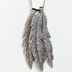 3 layer triple layer multi layer necklace with ball chain fringe, cz crystal and feather pendants