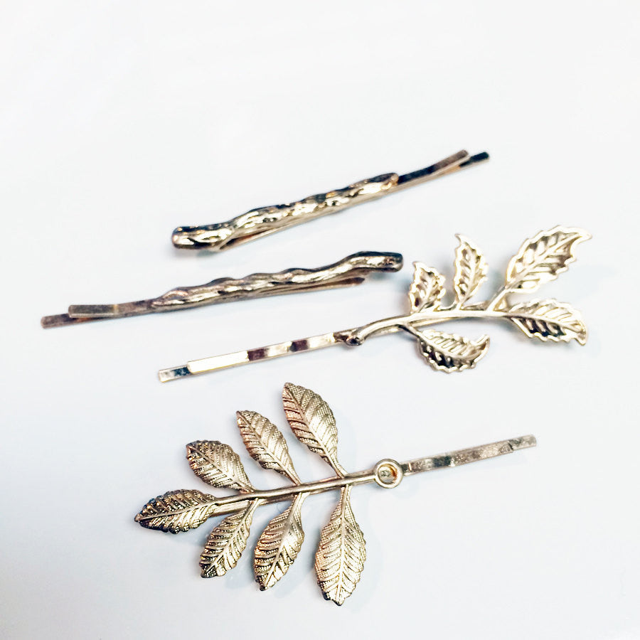 Bobby pin Four piece hair pin set with leaf motif and branch motifs, branch charms