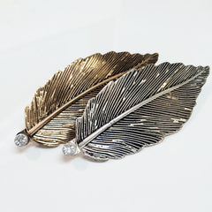 French Barrette Silver and gold plate antique finish leaf silhouette hair pin hair clip with rhinestone