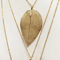 Gold dipped electroplated leaf THREE LAYER leaf charm necklace multilayer multichain