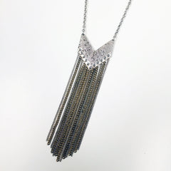 Hammered silver metal pendant necklace with chain fringe