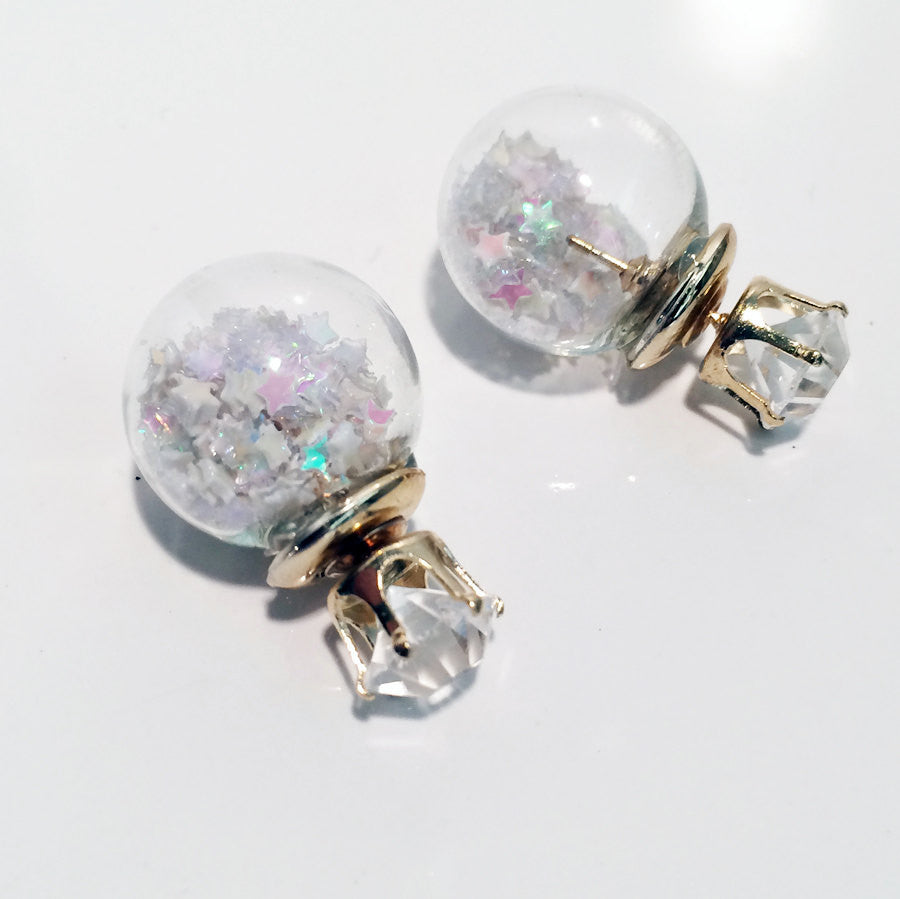 Glass ball transparent post earring front to back front and back star glitter dust iridescent sparkle