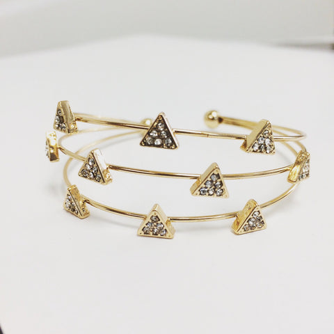 Triangle charm pavé crystal multi bangle stacked bracelet