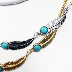 howlite CHOKER FEATHER charm necklace with turquoise beads in gold and silver