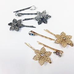 Antique art nouveau style Floral hair pin set with crystal stone filigree hair pin