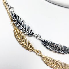 Feather cutout charm choker necklace in gold and silver plate