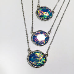 Pendant Layered opal necklace in blue and neutral, gorgeous and iridescent multichain necklace