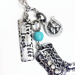 LIVE LAUGH RIDE, cowgirl western necklace with boots charm and stamped pendant