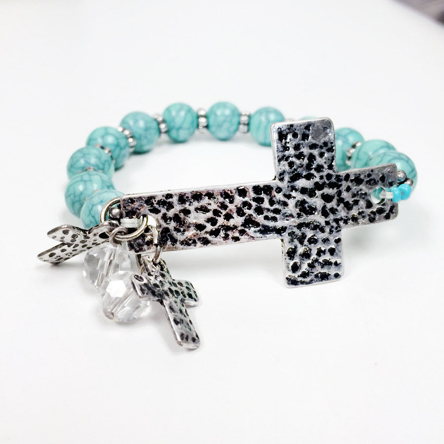 howlite bead Turquoise bead stretch elastic hammered antique cross charm with crystal bracelet
