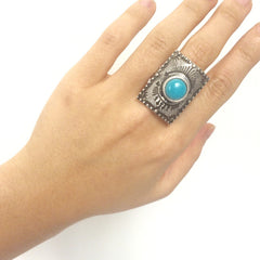 Square tab ring in antique gold and silver with turquoise stone, cowgirl ring