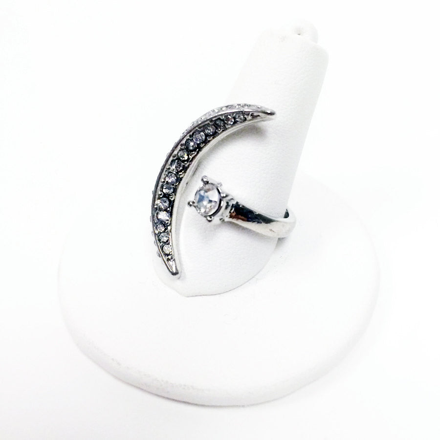 Pavé crystal moon and star open c-shape ring in silver place