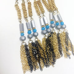 Native american style threaded bead breastplate necklace in blue tones with rhinestone crystal detail