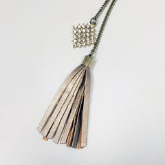 Leather tassel in champagne with pave crystal charm, double chain necklace lariat y necklace
