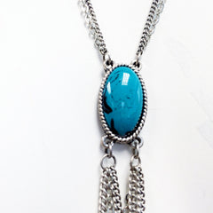 howlite cabochon Antique charms and chain western style cowgirl lariat tassel necklace with turquoise stone and bead