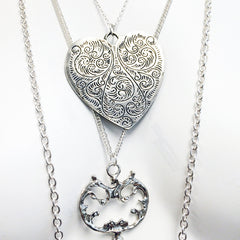 Heart and key engraved victorian style antique 3 layer multi chain necklace with silver chains