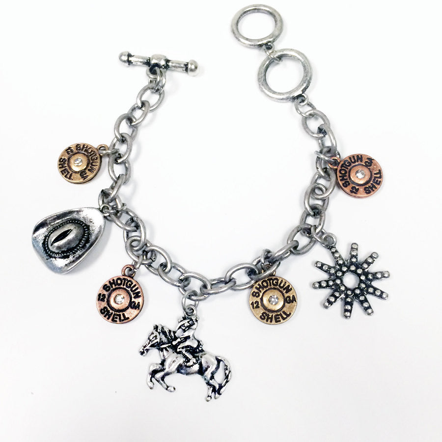 Delicate and unique cowgirl bracelet with winchester bullet, hat, and horse charms
