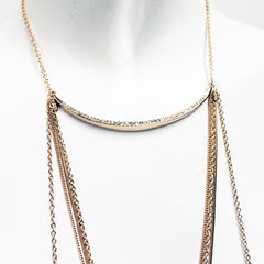 Pave crystal crescent small bib layered necklace  multichain bodychain