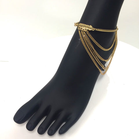 draped multi chain feather charm side anklet with adjustable strap