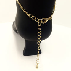 Seed bead t-strap interlocking anklet toe chain fully adjustable boho gypsy style gold chain