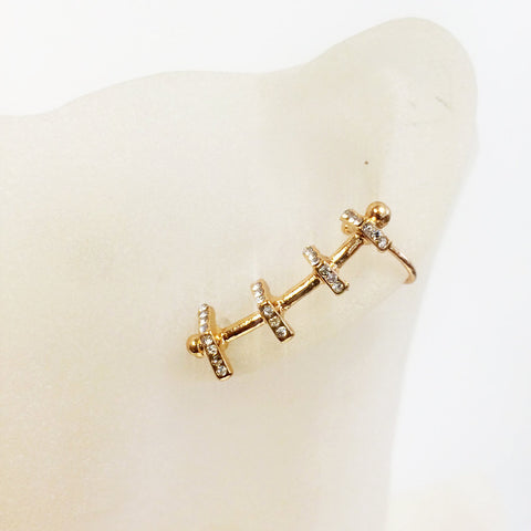 Delicate pave ear cuff, asymmetric with cz stone stud