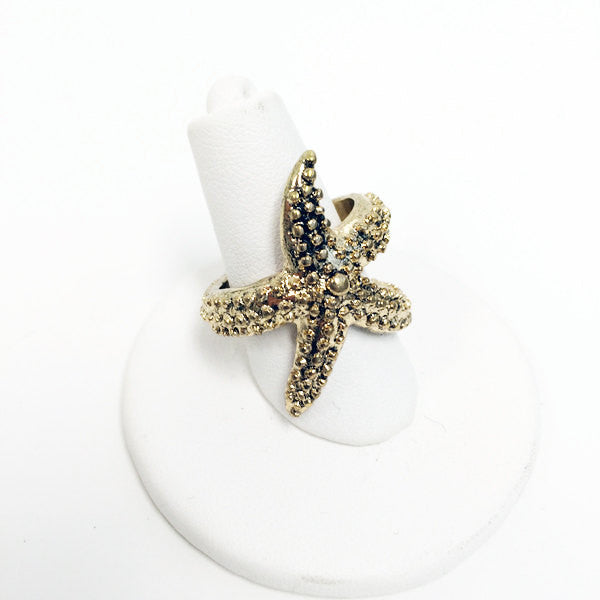 Gold plated starfish texture ring, ocean jewelry, summer jewelry