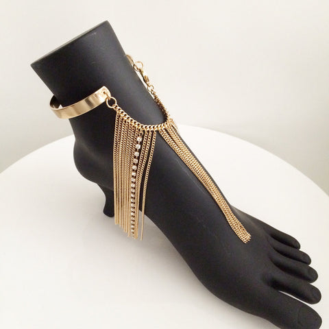 Chain fringe metal sleek bar anklet with rhinestone gold anklet cuff upper arm bracelet