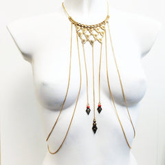 Indian inspired body chain with stones and antique metal detail (GOLD)