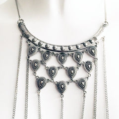 Indian inspired body chain with stones and antique metal detail (SILVER)