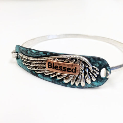 "Western mixed metal cowgirl rodeo ""blessed"" stamped text bracelet with angel wing."
