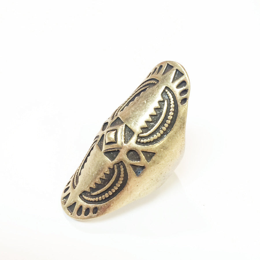 Aztec stamped ring in worn gold plate with geometric pattern, knuckle ring