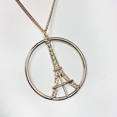Circle eiffel tower paris pendant necklace in gold plate