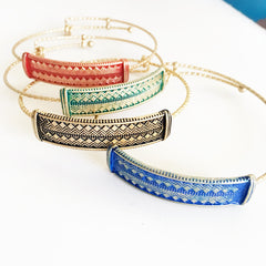 Stamped aztec southwestern pattern bracelet in 4 colorways, square top bracelet, adjustable bangle wire bracelet