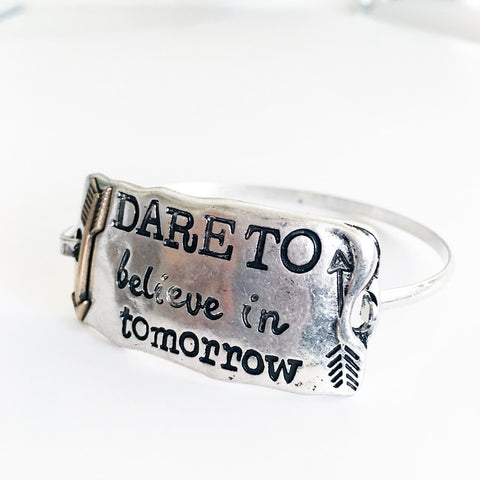 Dare to believe in tomorrow stamped text bracelet with arrow charm, cowgirl western bracelet