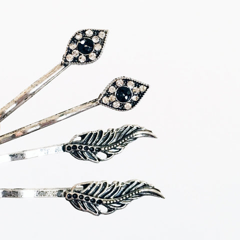 4 set hair pin evil eye feather antique style