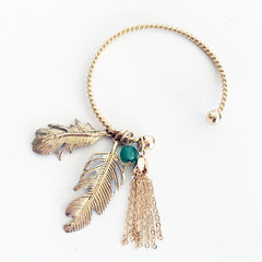 Feather charm emerald stone open bangle open c shape bracelet