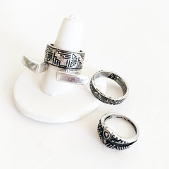 Aztec stamped pattern silver plated antique ring set stackable rings