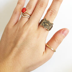 Boho antique gold plate stamped ring set with pave detail and coral stone