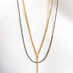 Double layer ball chain lariat necklace mixed metal