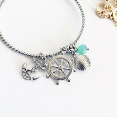 sailing anchor charm nautical charm emerald stone open bangle open c shape bracelet
