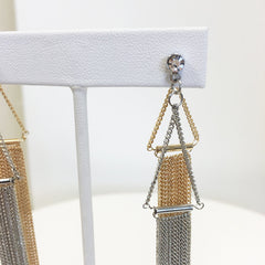 Front to back chain fringe earring in silver and gold, mixed metal with CZ stone