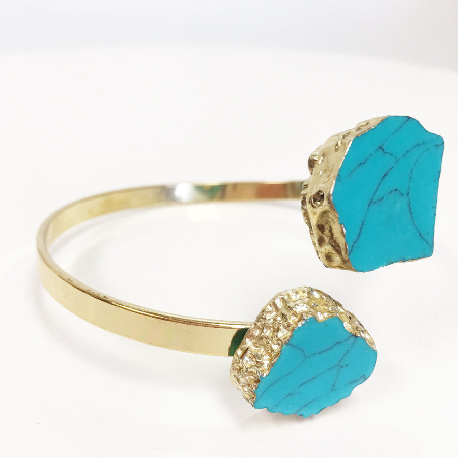 Howlite style turquoise electroplated gold dipped bracelet bangle