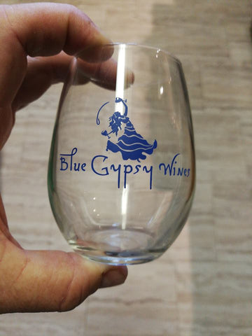 Z - 227ml Blue Gypsy Wines Logo Wine (Single) Glass