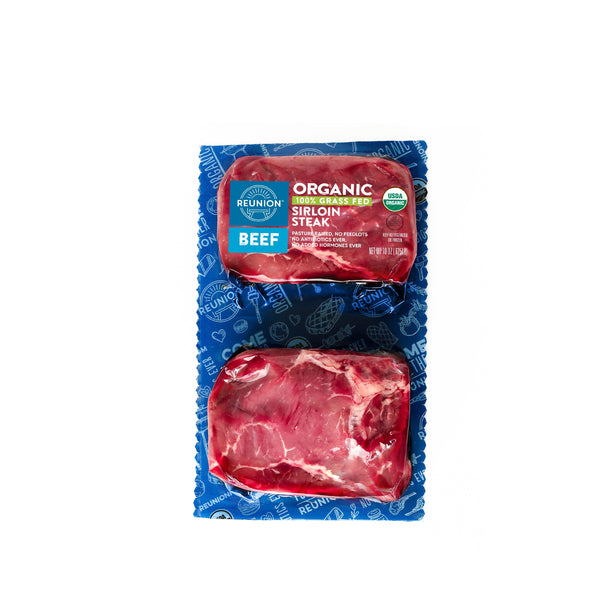 Organic Grass Fed Beef Sirloin Steaks