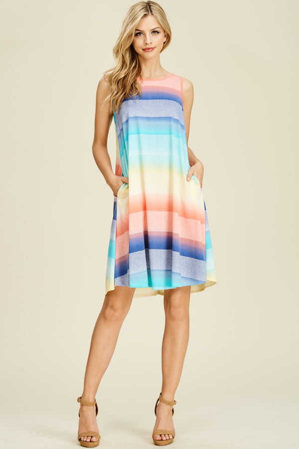 CORAL MULTI COLOR STRIPED SLEEVELESS DRESS